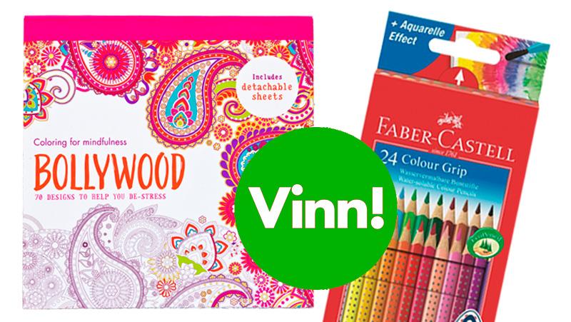 Vinn målarbok och färgpennor