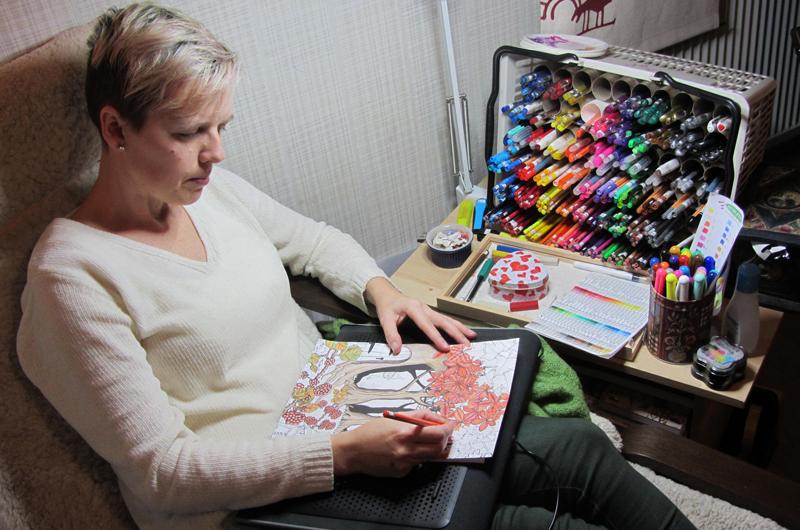 målarböcker för vuxna vilka pennor