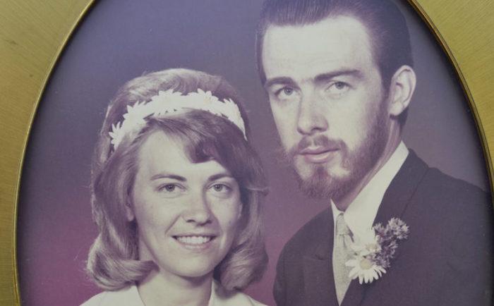 Utsnitt från Ann-Maris och Lennarts bröllopsbild.