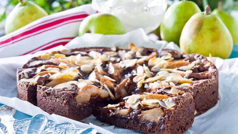 Kladdkaka med päron och mintchoklad recept