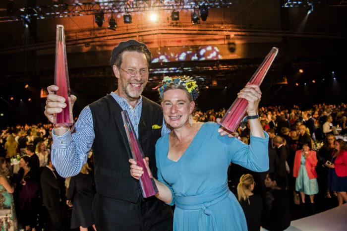 Gustav och Marie Mandelmann under TV-priset Kristallen 2017.