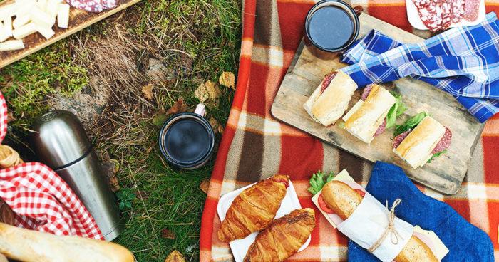 Picknickfilt med somrig mat