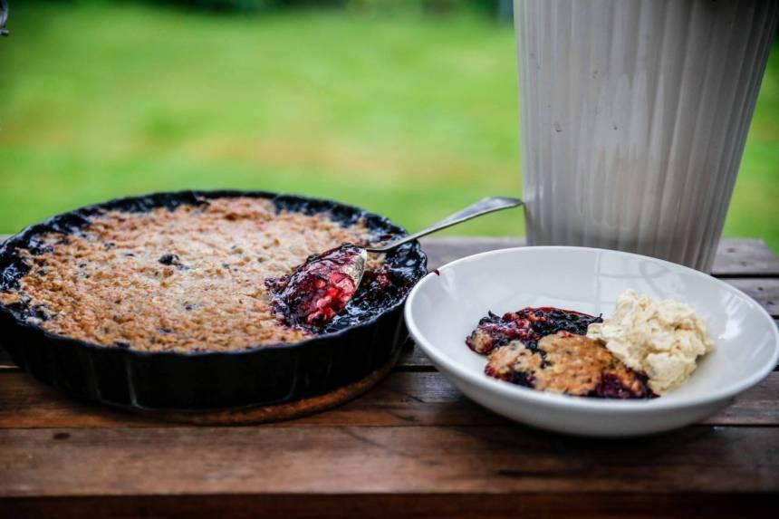 Knäckig paj med blåbär