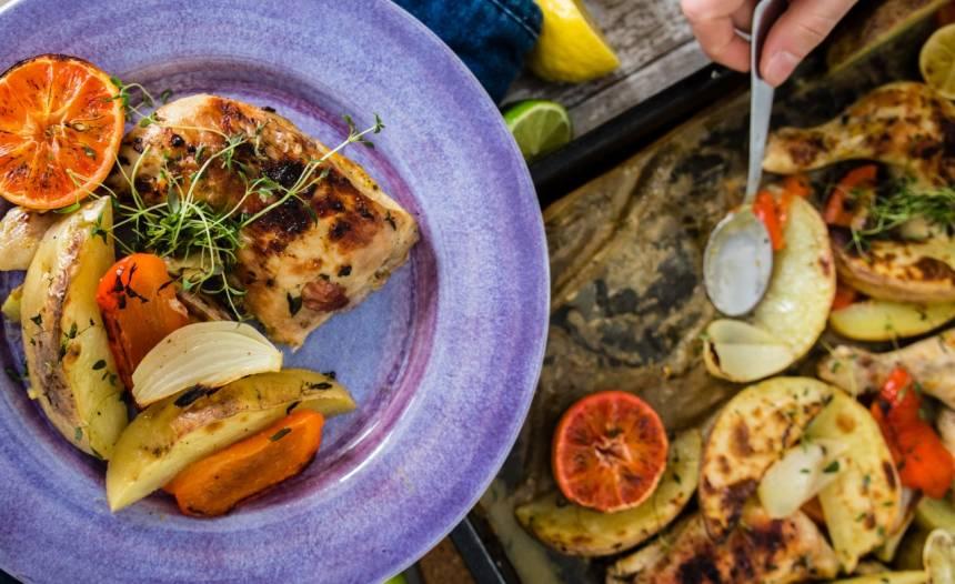 Kyckling marinerad i citrus bakad med grönsaker