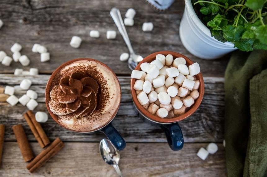 varm choklad, lyxig med marshmallows!