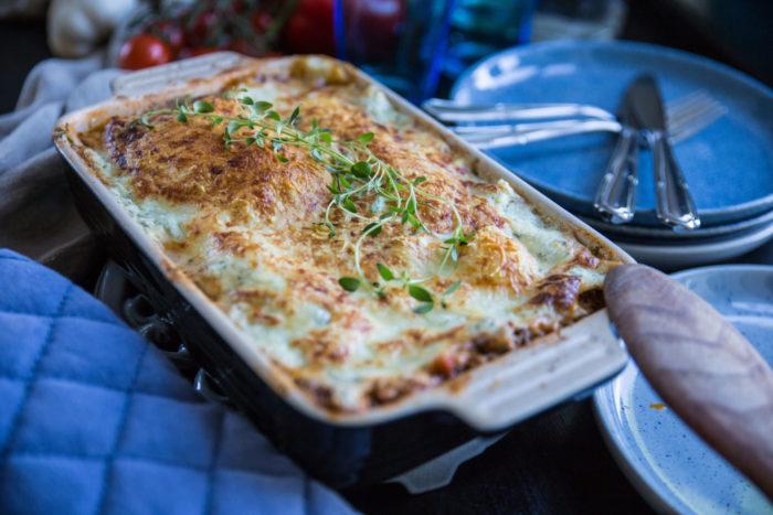 Nyttig lasagne gjord med keso